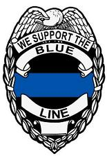 We Support The Blue Line Reflective Badge Police Law Enforcement Decal Sticker