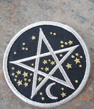 FABRIC CLOTHING PATCH IRON PENTAGRAM CRESCENT MOON STARS WICCA PAGAN ASTROLOGY