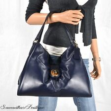 NWT COACH MIDNIGHT BLUE LEATHER SHOULDER BAG TOTE SATCHEL HANDBAG PURSE HOBO
