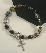 Sterling Silver Beads Bracelet with Cross Charm