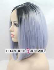 Ombre Short Bob Front Lace Wig Light Purple Synthetic Hair Straight Heat Good UK