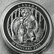 """Grizzly Bear coin - 2015 Canada $20 - 1oz .9999 silver- """" TOGTHERNESS """""""