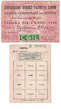 Tessera CGIL Bancari Napoli 1950 Confederazione Generale Italiana del Lavoro
