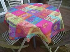 Tischdecke Provence 160 cm rund pink türkis Frankreich, pflegeleicht, bügelfrei