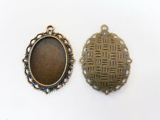 5 x Oval Cabochon Base Settings Antique Bronze 39mm x 28mm NF Findings Trays