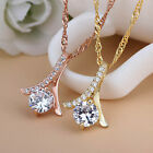 Women Charming Crystal Rhinestone Silver Chain Pendant Necklace Ladies Jewelry