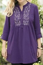 Ulla Popken Royal Amethyst Embroidered Knit Tunic 16 18 1X NEW  :*
