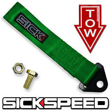 GREEN HIGH STRENGTH RACING TOW STRAP/STICKER KIT/SET FOR FRONT/REAR BUMPER A