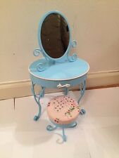 American Girl  Blue Metal Vanity with Drawer, Mirror & Cushioned Stool FREE SHIP