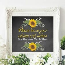 Wedding, Shower Sign Advice and Well Wishes Rustic Chalkboard  Sunflowers 8x10
