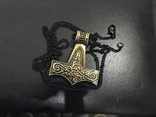 "Viking Skane Mjolnir THOR'S HAMMER BRASS NECKLACE 27""  black Chain DOUBLE SIDED"
