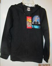 DON ED HARDY KIDS BLACK ZIP FRONT HOODY FOR BOYS SZ M (10) NWTGS $84 RETAIL