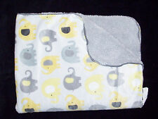 NOJO Little Bedding Elephant Baby Blanket Yellow Grey Sherpa Security Lovey