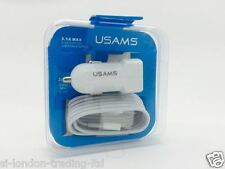 USAMS CAR CHARGER 3.1 AMP + Genuine Apple iPhone 5s/5 3.0 USB Cable ET-DQ10Y0WE