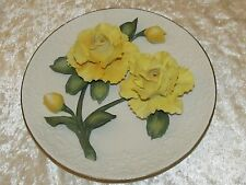 Belle assiette biscuit collection Franklin roses jaune Capodimonte