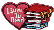Girl Boy Cub I LOVE TO READ BOOKS Fun Patches Crests Badges SCOUT GUIDE reading