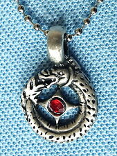CURLED DRAGON RED BEAD PENDANT MENS BOYS GIRLS GOTHIC NECKLACE CHAIN  PC0560