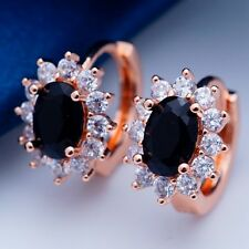 Popular Black Cubic Zircon Rose Gold Plated Hoop Earrings for Lady Party H2007
