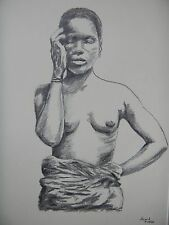 TOPLESS SLAVE GIRL (No.2). ORIGINAL FRENCH VINTAGE DRAWING, SIGNED ALAIN PINEAU.