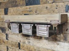 Vintage Wood & Metal Industrial Floating Storage Wall Shelf 3 Drawers Unit 61cm