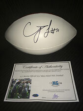 CJ MOSLEY BALTIMORE RAVENS SIGNED AUTOGRAPHED WHITE PANEL FOOTBALL NEW-PROOF COA