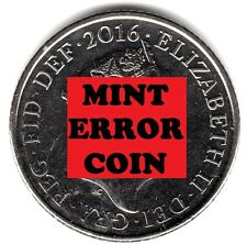 2016 10P COIN RARE SHIELD * ERROR MULE * TEN PENCE Face Ghosting (a)