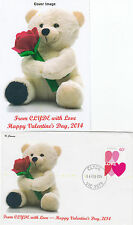 """2014 Valentines Day from Clyde booklet stamp on limited edition """"K"""" Covers FDC"""