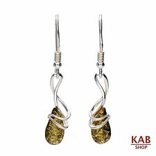 GREEN BALTIC AMBER STERLING SILVER 925 JEWELLERY EARRINGS +GIFT BOX. KAB-177