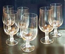 LALIQUE 6 verres à Vin CRISTAL de 16 cm - Forme tulipe - pied dépoli en colonne