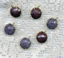 VINTAGE AMETHYST Glass  Jewels Purple Orchid KALEIDOSCOPE CHARMS Drops Dangle