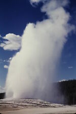 1940's Color Slide Old Faithful Geyser Yellowstone National Park Red Border