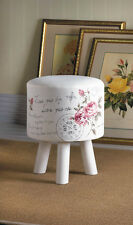 SMALL shabby white french Rose wood padded cushion seat stool footstool ottoman