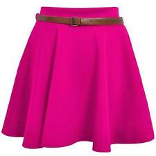 Ladies Skirts Womens Belted Flared Plain Mini Skater Skirt Sizes UK 8 10 12 14