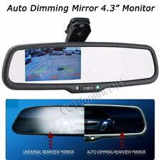 "Car Rear View Auto Dimming Mirror w/4.3"" TFT-LCD 800*480 Monitor + Bracket"
