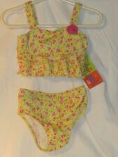 NEW Penelope Mack Girl's 2 Pc Yellow Tankini Swimsuit w/ Roses & Ruffles, Sz 24M