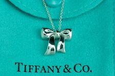 """Tiffany & co. 92.5% Silver RIBBON BOW Pendant with 16.14"""" Necklace"""