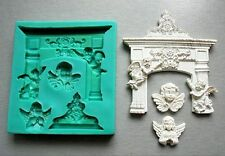 Silicone Mould Christmas Fireplace with Angels Sugarcraft Cake Decorating