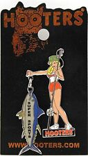 HOOTERS GIRL ROD & REEL FISHING CAUGHT A BIG FISH LAPEL PIN - SUPER SPORTS