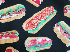 Sandwich Deluxe Sub Sandwiches Hoagie Grinder Snacks Food Cotton Fabric FQ