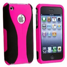 PINK BLACK SNAP-ON 3-PIECE HARD CUP SHAPE CASE COVER for APPLE iPHONE 3G S 3GS