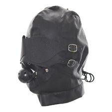 Heavy Duty Leather Padded Lockable Hood Mask Halloween 01