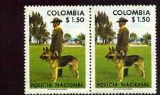 DOG GERMANY, PASTOR ALEMAN,-  AND POLICEMAN     COLOMBIA,-pair hor.     MNH