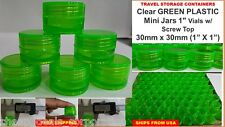 "72X Small Vials Clear Storage Container Mini Plastic Jar Bottle 1"" Tiny GREEN"