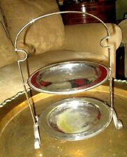 Vintage D&SG c20`s SILVER EPNS 2 Tier Cake Stand Matching Silver EPNS Plates