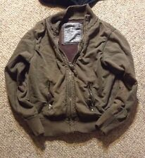 American Eagle Mens VINTAGE KNIT LINING Jacket Sz M OLIVE Army Green Distressed