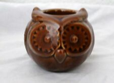 Fall Decor Brown Burnt Sienna TAG Oakley Owl Tea Light Candle Holder Ceramic