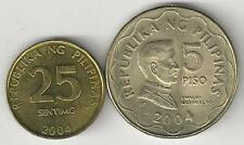 2 COINS from the PHILIPPINES - 25 SENTIMOS & 5 PISO (BOTH DATING 2004)