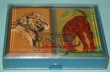 Vintage WHITMAN Playing Cards Double Deck Case PINOCHLE LIONS & TIGERS