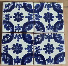 "10~Talavera Mexican tile pottery hand painted 4"" Cobalt Blue Creamy White Flower"
