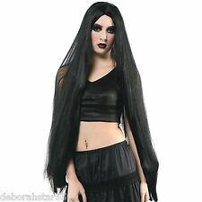 Very Long Black Wig Black Gothic Witch Vampire Halloween Costume Prop Adult O/S